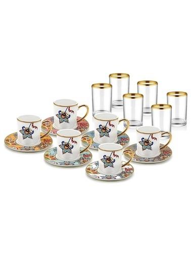 The Mia Dilaila Kahve & Su Bardağı Seti 6 Kişilik Renkli